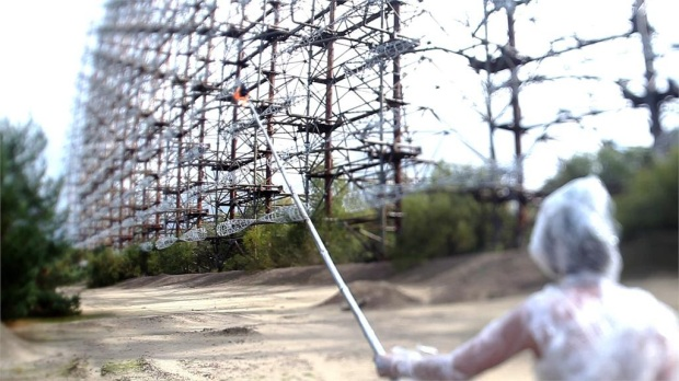 Still from the movie The Russian Woodpecker